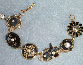 Vintage Collage Bracelet - Elegant Black and Gold made from vintage rhinestone/pearl jewelry