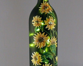 Wine bottle lamp, yellow sunflowers, hand painted, yellow and green