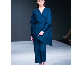 Navy cape  jumpsuit pantsuit power suit, Victorian sleeves