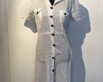 1930s 1940s Cotton Day Dress -- White with Petite Blue Polka Dots