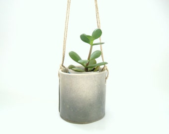Hanging Succulent Planter in Ombre Gray, Modern Minimalist Ceramic Pottery Ready to Ship