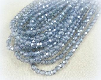 Czech Beads, 4mm Czech Glass Fire Polished Beads - Sapphire Blue Luster (FP4/SM-14464) - Qty 50
