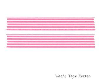 mt Pink Horizontal Border Stripe Japanese Washi Tape - 15mm x 10m - Scrapbooks Planners Decoration Collage Card making