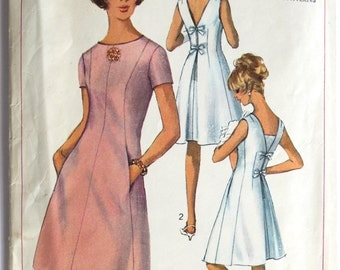 Vintage 1960s Women's Mod A-Line Shift Dress with Bow Detail Sewing Pattern Size 10 Bust 31 Simplicity 6434