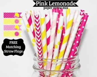 50 Pink Lemonade Paper Straw Mix  PAPER STRAWS birthday party wedding bridal shower event cake pop sticks Bonus diy straws flag