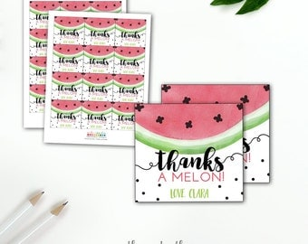 Watermelon Birthday Party Favor Tags, Girl's Birthday Thanks a Melon, Watermelon Party Summer Birthday Watercolors Pink and Green, PRINTABLE