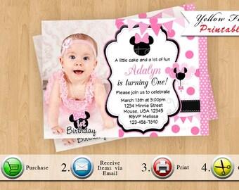 Minnie Mouse Invitation, Minnie Mouse Invitations, Minnie Mouse Party, Minnie Mouse Party, Birthday, Style 2