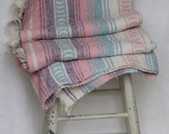 Blue, Lavender and Pink Southwest Throw/ Mexican Woven Blanket / Tribal Blanket