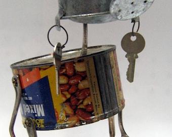 """Recycling RUSTY  ROBOT SCULPTURE -""""Miss Nuts """"- assemblage art,comoiccon,metal sculpture,art sculpture,green art,reused sculpture"""