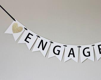engagement party decorations - gold engagement banner - engagement banner - Engaged