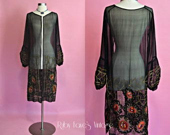 1920's Vintage Black Sheer Silk Flapper Jacket with Gold Metallic Embroidery and Patches of Red Velvet Designs