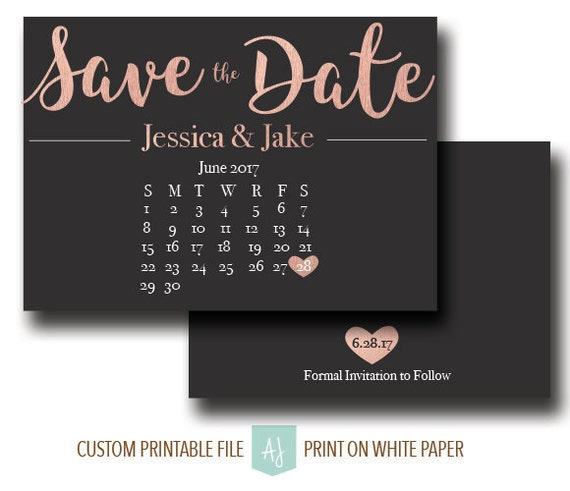 rose gold save the date with calendar diy printable wedding