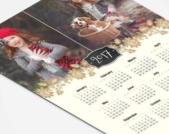 2017 Calendar Template - 8x10 Photo Calendar Photoshop Template For Photographers - FIORE - 1349