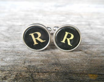 "Vintage Typewriter Key Cufflinks 'R R' The Letter R, Initial R, Black and Silver 5/8"" (15mm) Steampunk, Writer, Literary, Wedding, Prom"