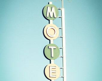 Retro Sign Photography Route 66 Motel Albuquerque New Mexico Southwestern U.S. Santa Fe Funky Restaurant Decor Travel Photography Leaf Green