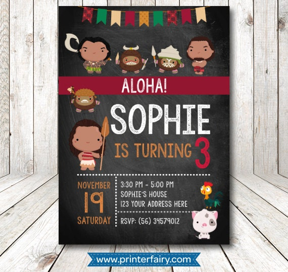 Cute Moana Printable Birthday Party Invitations Kids