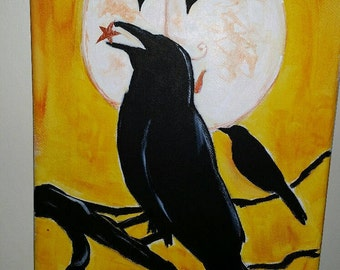 Primitive crow and the laughing moon