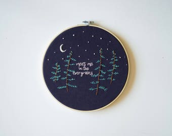 Meet Me in the Evergreens - Pine Tree Embroidery