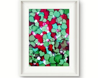 Original abstract painting colorful green red painting christmas decoration