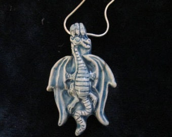 Charged Protection Blue Dragon Raku Pendant on Sterling Silver Chain