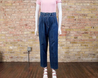 pleated denim / 80s pleated jeans / high waist denim / high rise / peg jeans / slouchy jeans / jean joggers / loose fit denim / high waist