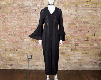 elvira sheer 90s dress / duster jacket / flutter sleeve / bell sleeve / sheer black dress / sheer overlay / occult / goth / witchy