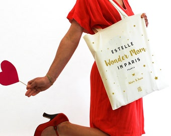 "Bag ""Wonderful Mom"", tote bag, personalized gift for the mother's day, Tote, bag fabric, cotton, french, for birthday."