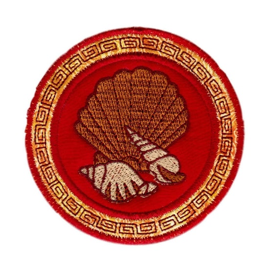 Iron On Seashell Embroidered Applique, Iron On Patch, Machine Made Embroidered Sea Shell Applique Patch, FREE SHIPPING