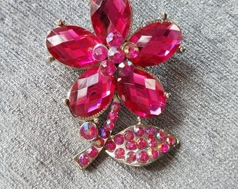 Fuschia Pink or Red Flower Brooch