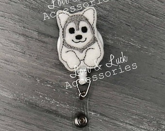 Husky Dog ID Badge Reel -Retractable - Retail - office gift- nurses- security badge - Swivel Alligator Clip or Belt clip