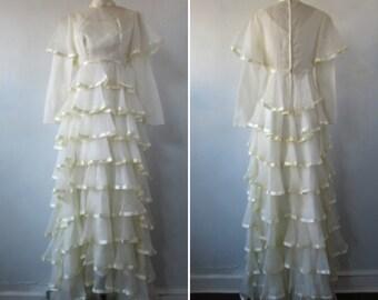 1970s wedding dress | vintage 70s wedding dress | vintage bridal | satin ribbon and ruffles | small | The Make Merriment Wedding Dress