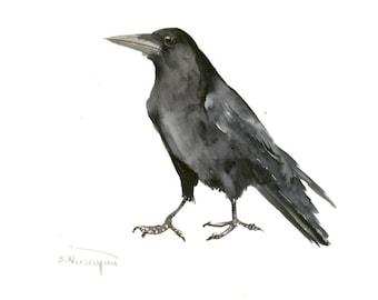 "Raven, One of a kind original watercolor painting 14"" X 11"", black an white crow raven art raven wall art original raven art"