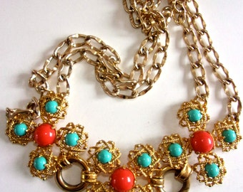 CASTLECLIFF Signed Turquoise Coral Cabochon Necklace, Gold Tone, Vintage