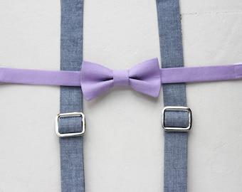 Purple Toddler Bow Tie Blue Suspenders - Chambray Little Boy Suspenders Boys Lavender Bow tie Chambray Toddler Suspenders Baby Suspenders