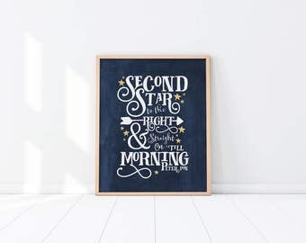 Navy Blue Nursery Art Print - Second star to the right - Peter Pan quote - Dark Blue - White - Yellow - Baby shower gift - SKU:6130