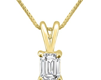 14k Yellow Gold Emerald-cut Diamond Solitaire Pendant Necklace (1/3 cttw, H-I, VS2-SI1)