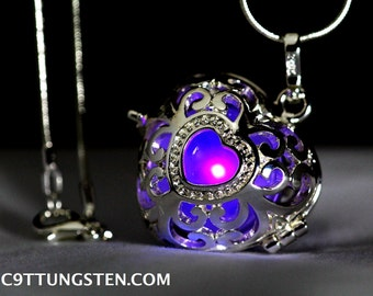"Sunset Purple Glowing Heart  in 925 Sterling Silver SP With 18"" Sterling Silver SP Snakechain, Glow Pendant, Glow in the Dark, Glow Jewelry"