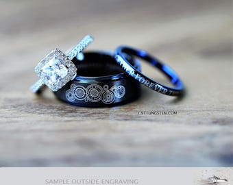 timeless doctor who inspired his 8mm tungsten and hers 2mm 925 sterling silver 15 carat cushion - Dr Who Wedding Ring