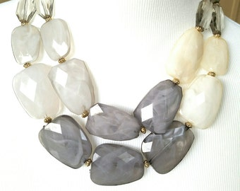Gray Bib Statement Necklace - Gray 2 Layer Necklace - Grey Necklace - Gray Layered Necklace- Grey Necklace- Gray Necklace