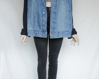 80s Vintage Blue Sturdy Jean Denim Jacket with Black Sweater Sleeves for Men or Women