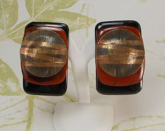 Huge Chunky  Earthy Brown, Black, and Copper Abstract Mixed Media Clip Earrings  2803