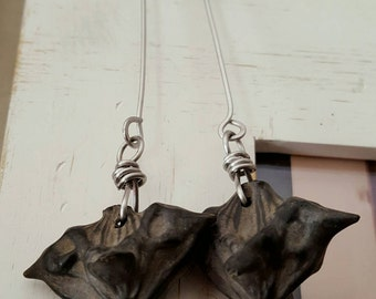 Devilpod earrings - unusual water chestnut seed pod earrings, natural seed jewelry, stainless steel, battle jewelry