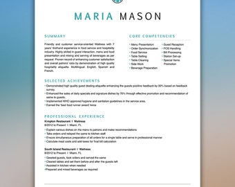Restaurant Resume Template | Server Resume | Food Service Resume | Waitress Resume | Bartender Resume | CV Template | Instant Digital MASON