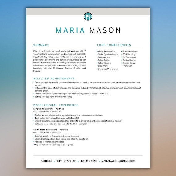 Restaurant Resume Template | Server Resume | Food Service Resume | Waitress  Resume | Bartender Resume | CV Template | Instant Digital MASON  Restaurant Resume