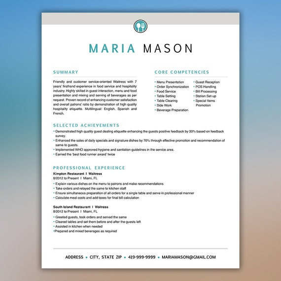restaurant resume template server resume food service resume waitress resume bartender resume cv template instant digital mason - Restaurant Resume Template