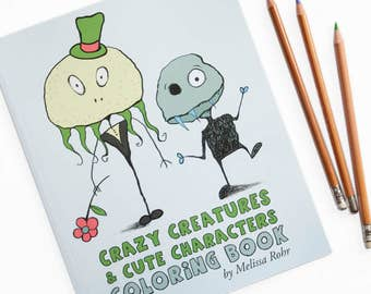 Creatures & Characters Coloring Book, Halloween Monsters and Animals, Cute Monster Gift
