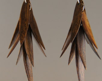 Iron Wood Feather Earrings