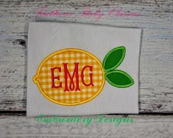 Lemon Applique Preppy Design File for Embroidery Machine Monogram Applique Instant Download