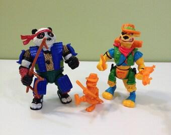Teenage Mutant Ninja Turtles TMNT Panda Khan and Walkabout Kangaroo Cartoon Action Figures with Weapons Accessories Lot of 2 1990s 90s