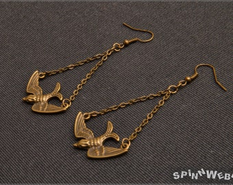 Bird Earrings - Fantasy, Fairytales, Nature, bronze, link chain, metal, handmade